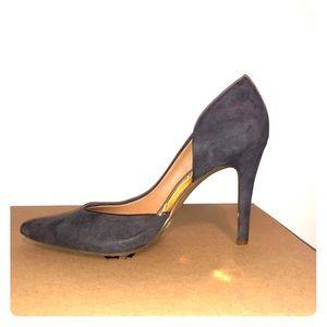 Dark gray suede high heels